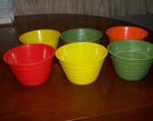 6 Vintage plastic cups~  Retro Kitchen decor yellow green orange red