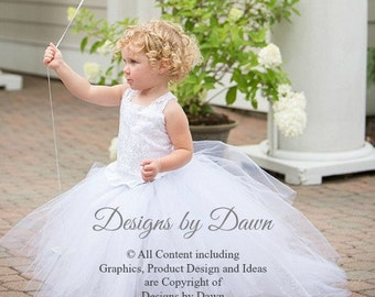 Private listing for Helen Gountanis (twins) - November - 2 White flower girl dresses with train and lace!