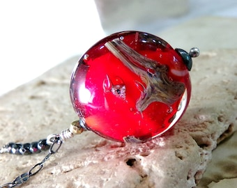 Red Necklace, Red Murano Glass Necklace, Sterling Silver Necklace, Venetian Glass Necklace, Red Pendant Necklace - Red Sails