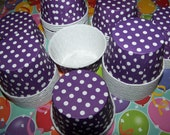 Treat/Portion Cups, Grape/white Polka Dot, Party Cups, Cupcake Baking 24 Polka Dots Treat Cups