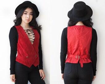 Vintage Deep Red Suede Vest S M 1990's