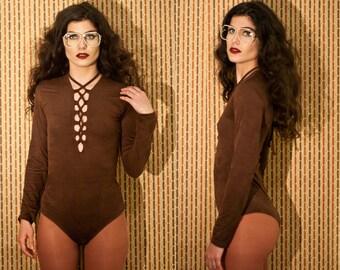 Faux Suede Chocolate Brown Lace Up Bodysuit XS S M L XL