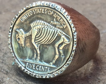 Awesome Gift- Mans Ring ///// Sterling Silver FULL Skeleton Buffalo Leech Skull Hobo Nickel-