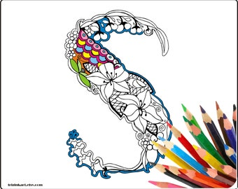 "Letter ""S"" Lilly style alphabet  Adult coloring page"
