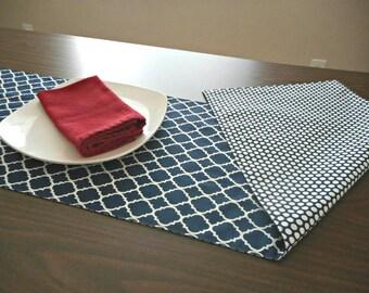 Navy Blue Table Runner White Quatrefoil Moroccan Polka Dots Reversible Patriotic July 4th