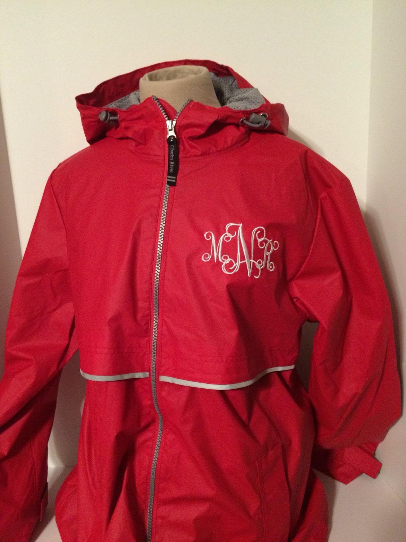 Monogrammed rain jacket new englander by