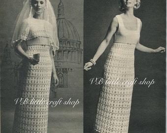 Lady's wedding dress crochet patterns. Instant PDF download!