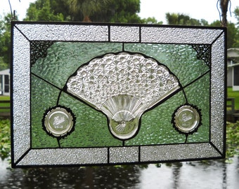 Stained Glass Window Panel, Vintage Daisy & Button Fan Depression Glass Plate, Antique Stained Glass Window Transom, Original Glass Valance