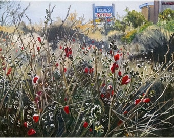New Mexico Roadside Flowers Original Oil Painting - 14x11 in Realism Landscape