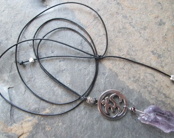 Amethyst & Garnet on Leather - Om pendant - Layering necklace - Bohemian style