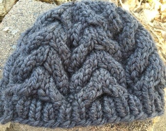 Charcoal Gray Cable Knit Hat