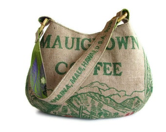 MTO. MauiGrown Coffee Burlap Hobo Handbag. Repurposed Coffee Bag and Shoulder Bag. Handmade in Hawaii.