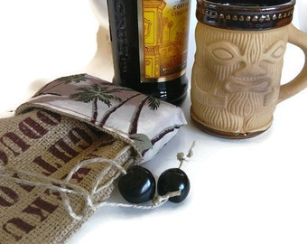 MTO. Custom. Coffee Syrup, Spirits or Wine Burlap Bottle Holder. Gift Wrap for Coffee Lover. Repurposed Coffee Bag. Handmade in Hawaii.
