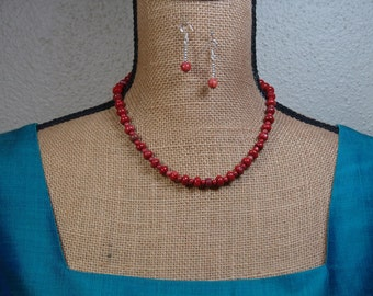 Natural Red Jasper Gemstones, 925 Silver Necklace and Earrings