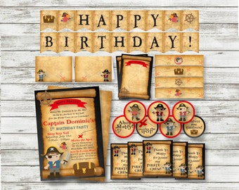 Pirate Birthday PARTY PACK - Boy Pirate Party - Printable - Personalized Pirate Party Supplies - Pirate Thank You Note ~ Banner -