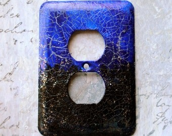 Midnight outlet cover, mixed media, cobalt blue, black with sparkles, glitter,