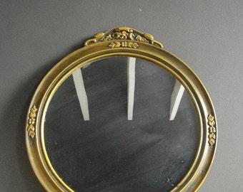 30% off SALE Pretty Round Mirror - Old Ornate Framed Vintage Mirror - Round Mirror with Flower Detailing