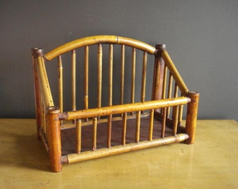 Vintage Magazine Rack - Bamboo Book or Magazine Caddy