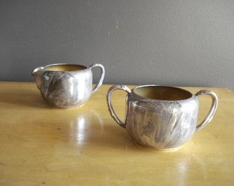 Silverplate Sugar Bowl and Creamer - Vintage Silver Plate Oneida Community Mini Vases with Handles