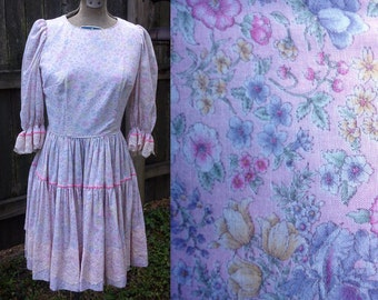 Square Dance Costume, Vintage Dress, 70s Dress, 70s Costume in Pastel Floral Fabric with Lace and Ribbon by Katherine Dean Size 2