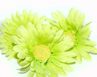 3 Light Green Gerbera Daisies - Arificial Flowers, Silk flowers