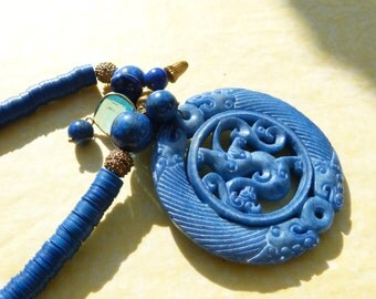 Vintage  Chinese Carved Stone Pendant, Lapis and Bakelite Heishi Necklace