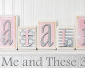 Wood letter name blocks-Grey light pink elephant polka dot stripe