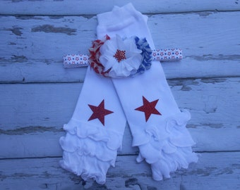 4th July Flower Headband and ruffled leg warmers set baby toddler girls Holiday Patriotic red white and blue