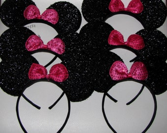 6 minnie mouse inspired party favor headband bow ears disneyland birthday DIY hair accessorie hot pink