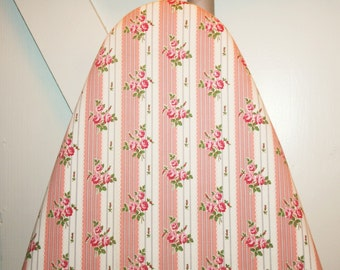 Lovely Pink Roses and Coral Stripes Newly Handmade Vintage Ticking Ironing Board Cover