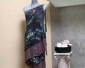Blue Shibori Wrap Dress / Boho / Hand Dyed / Wear as Dress or Skirt