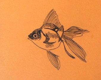 minimalist ink print: Goldfish