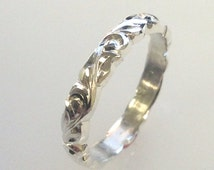 Hand Engraved Vine and Leaf Sculpted Wedding Band  Band 3mm 14k White Gold  Band