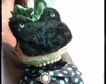 16 inch Artist Handmade OOAK Plush Frog Zhanetta by Sasha Pokrass