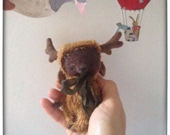 4 inch Artist Handmade Teddy Bear in Moose's suit by Sasha Pokrass