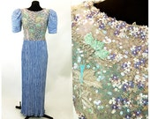 Mary McFadden Couture gown beaded embroidered periwinkle blue Fortuny pleats Size M