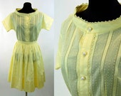 1950s dress yellow skirt and blouse pleated skirt dotted swiss Abby Michael Size M