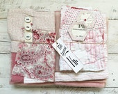 Vintage french fabrics, blanket, haberdashery label- bundle of possibilities,