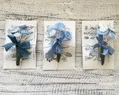 Spring flower, blue button bouquet brooch