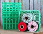 Green Plastic Berry Baskets, Farmers Market Baskets, Green Plastic Berry Tills, Cookie Baskets, Easter Baskets, Quart Size Baskets (6)