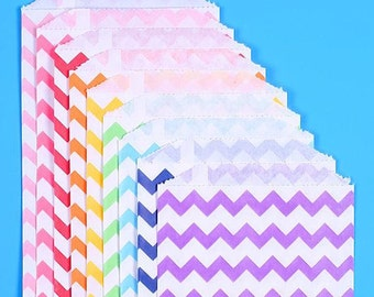 Rainbow Favor Bags, Chevron Favor Bags, Rainbow Treat Bags, Rainbow Goodie Bags, Paper Gift Bags, Candy Buffet Bags, Sweet Bags (18)