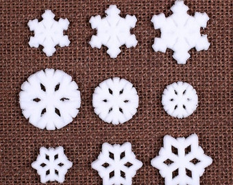 Sugar Snowflake Toppers, Edible Snowflake Cupcake Toppers, Frozen Snowflake Toppers, Frozen Cake Pop Toppers, Snowflake Sugar (18 ct)