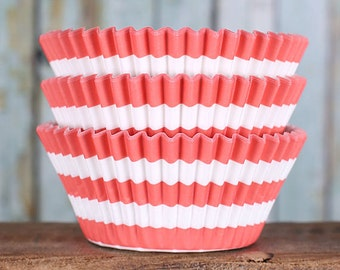 Coral Striped Cupcake Liners, BakeBright Cupcake Liners, Coral Cupcake Liners, Coral Baking Cups, Stripe Cupcake Cases, Cupcake Wrapper (60)