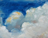 """miniature oil painting, priced for collecting, aceo original oil painting, art & collectibles, apprx 4x4"""", """"Puffy Clouds"""""""