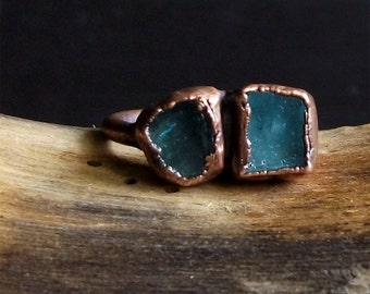 Raw Crystal Ring Dual Tourmaline Copper Gemstone Raw Crystal Ring Rough Stone Jewelry Size 6.5 Midwest Alchemy