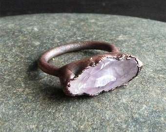 Rough Amethyst Ring Copper Gemstone Ring Size 5.5 February Birthstone Ring Raw Copper Ring Rough Stone Jewelry