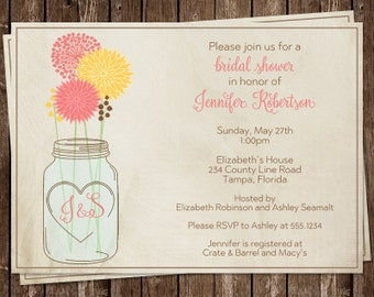 Mason Jar, Bridal Shower Invitations, Coral, Yellow, Flowers, Wedding, Initials, Rustic, Country, Chic, 10 Printed Cards, MAJAY, Customized