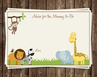 Jungle, Advice Cards, Mommy, Baby Shower, Safari, Animal, Gender Neutral, Monkey, Lion, Giraffe, 50 Printed, FREE Shipping, Cream, JNGJK