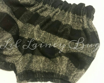 High Waisted Shorts -Baby Toddler Girls -Bloomers Shorties - Classic -Fall Winter- Gray Black Plaid Flannel -Mod Trendy Goes with Everything