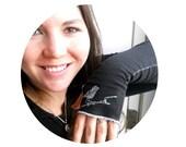 Fingerless Gloves, Little bird on branch Arm Warmers in black or custom colors, great stocking stuffer